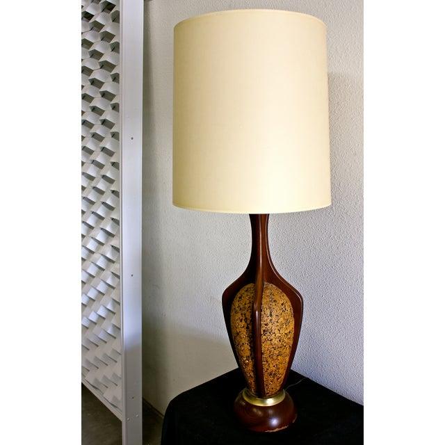 Mid-Centuy Modern Danish Teak & Cork Lamp - Image 2 of 4