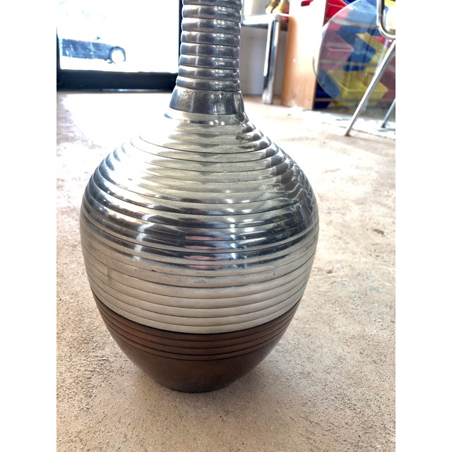 Contemporary Contemporary Extra Tall Ribbed Metallic Vase For Sale - Image 3 of 7
