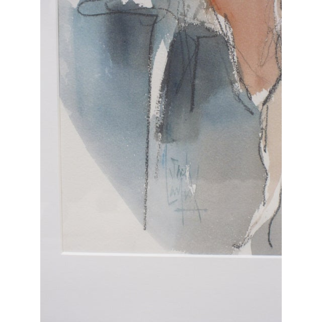 Abstract 1970s Vintage Jack Laycox Abstract Female Nude Watercolor Painting For Sale - Image 3 of 6