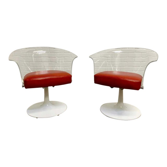Lucite and Leather Space Age Chairs For Sale