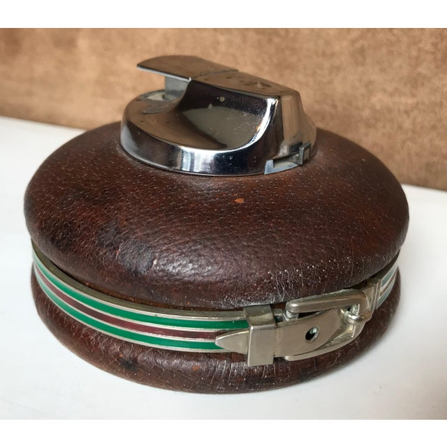 Brown 1980s Vintage Gucci Spherical Leather Lighter For Sale - Image 8 of 8