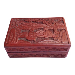 Carved Cinnabar Chinoiserie Box For Sale