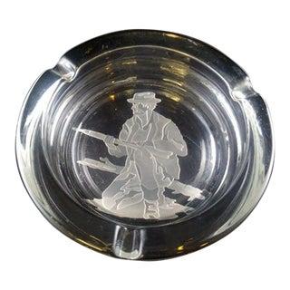 1980s Vintage Huntsman Etched Glass Ashtray For Sale