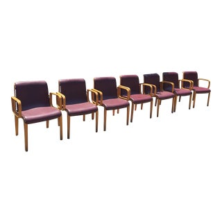 1970's Mid-Century Modern Bill Stephens for Knoll Bentwood Arm Chairs - Set of 7