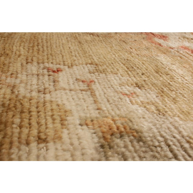 Transitional Transitional Oushak Design Tan and Red Wool Rug For Sale - Image 3 of 5