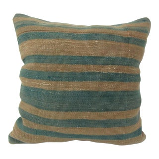 Vintage Green Striped Kilim Pillow Cover For Sale