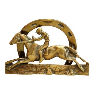 English Brass Equestrian Letter Rack