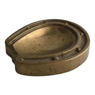 1950s Brass Horseshoe Ashtray or Dish For Sale