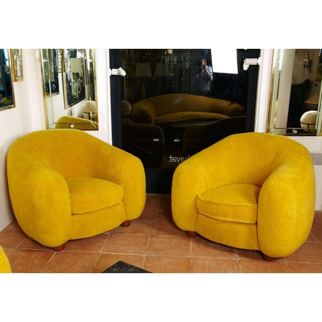 "1950s Jean Royère Genuine Iconic ""Ours Polaire"" Pair of Armchairs in Wool Faux Fur For Sale - Image 5 of 11"