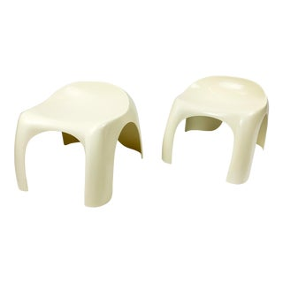 1960s Original Stacy Dukes for Artemide Efebino Petite Stools, a Pair For Sale