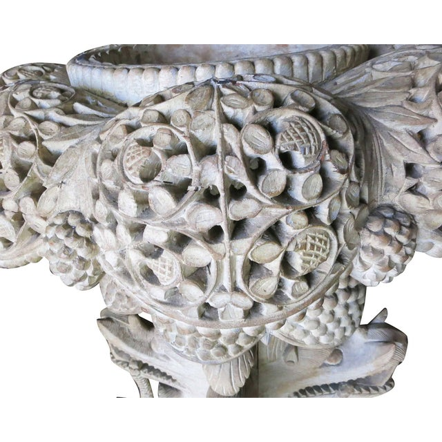 1980s Large Hand-Carved Burmese Dragon Pedestal Planter For Sale - Image 5 of 10