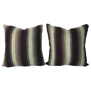 Pillows From Antique Wool Striped Blanket - a Pair