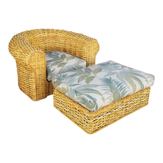 XL- Ralph Lauren Tropical Woven Rattan Chair and Ottoman For Sale