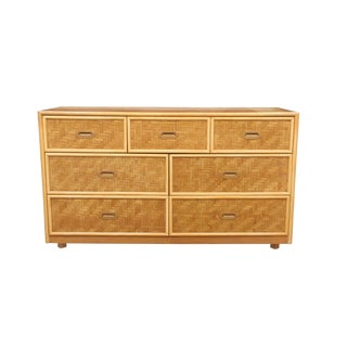 1960's Dixie Furniture Painted Bamboo Dresser For Sale