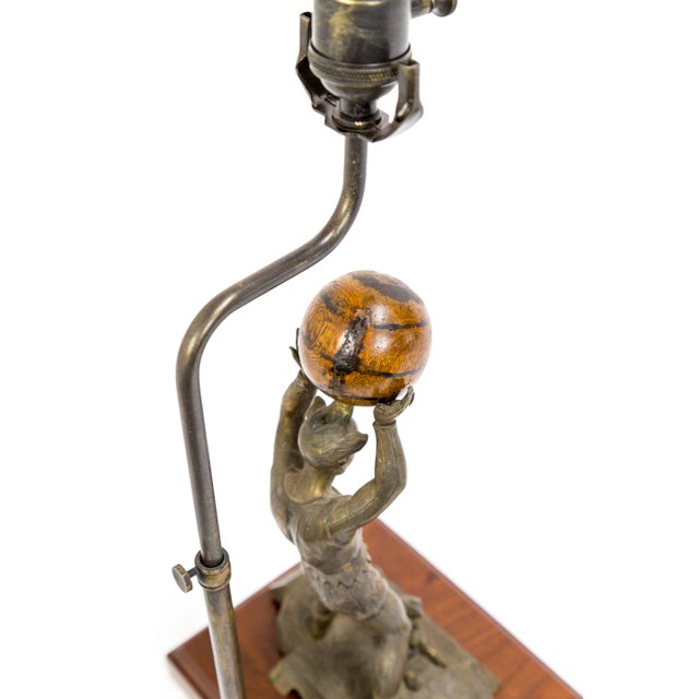Circus Jester Sculpture With Walnut Ball Lamp For Sale - Image 10 of 13