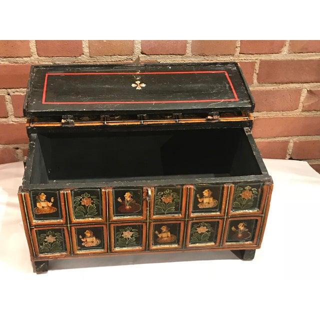 Folk Art Vintage Folk Art Indian Hand Painted Box For Sale - Image 3 of 10