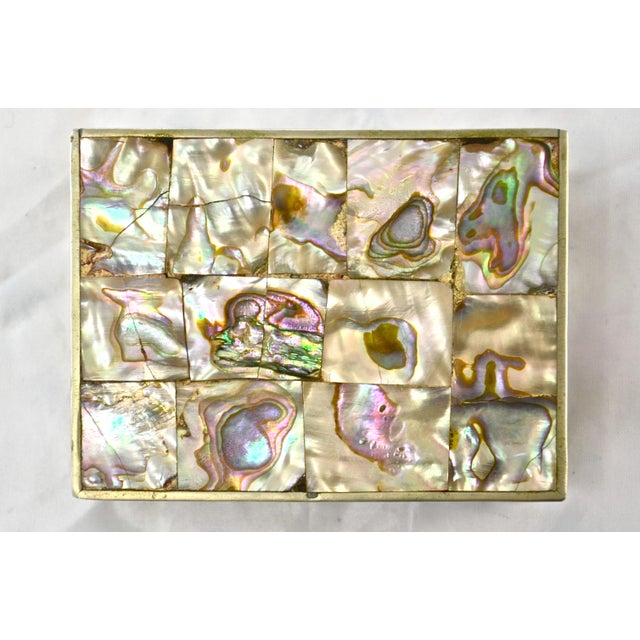 Boho Chic 1960s Inlaid Abalone & Silver Box For Sale - Image 3 of 6