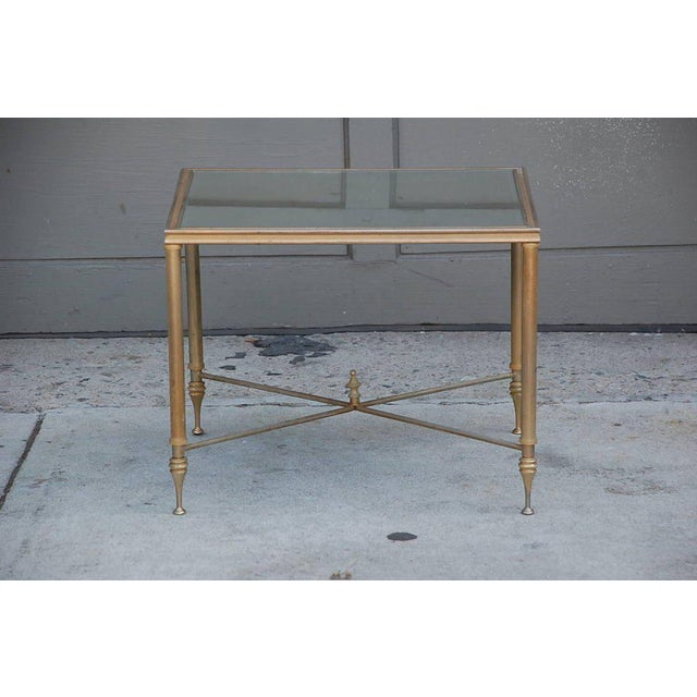 Glass Elegant Gold Side Table With Antique Mirrored Glass For Sale - Image 7 of 7