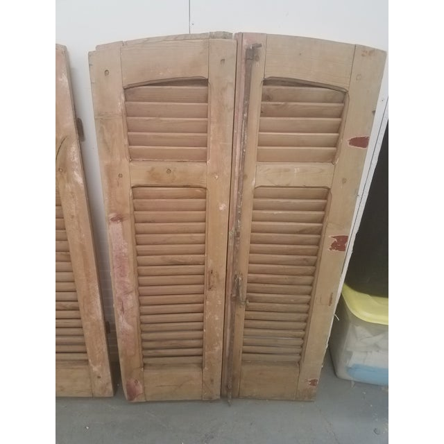 Wood Antique Curved Wooden Shutters - Set of 4 For Sale - Image 7 of 11