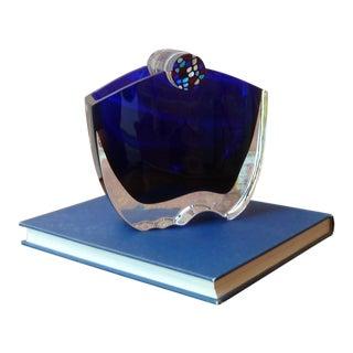 Baccarat Cobalt Blue Oceanie Crystal Vase For Sale