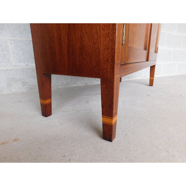 "Mid 20th Century Biggs Federal Hepplewhite Style 1Pc Mahogany Banded Cabinet 90""h X 40""w For Sale - Image 5 of 13"