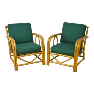 Vintage Imperial Reed & Rattan Bamboo Frame Lounge Chairs - a Pair