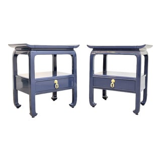 Pair of Mid Century Lacquered End Tables/Nightstands For Sale