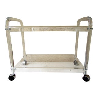 Modern Lucite Bar Cart For Sale