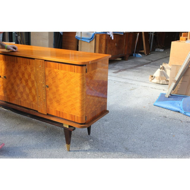 French Art Deco Light Exotic Macassar Ebony Sideboard / Buffet By Jules Leleu Style, with mother-of-pearl Circa 1940s - Image 2 of 11