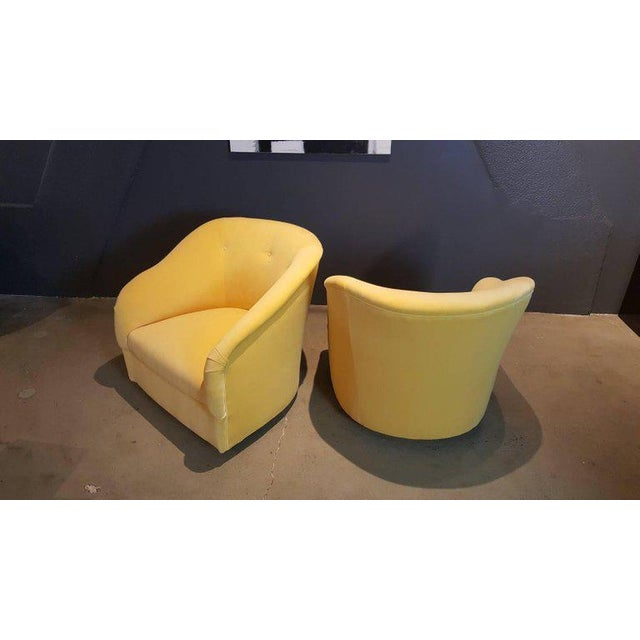 Fully Restored 1960s Vintage Ward Bennett Canary Yellow Velvet Swivel Chairs - a Pair - Image 6 of 11