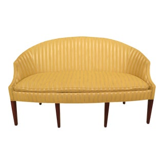 1990s Vintage Hickory Chair Co Federal Style Yellow Striped Loveseat For Sale