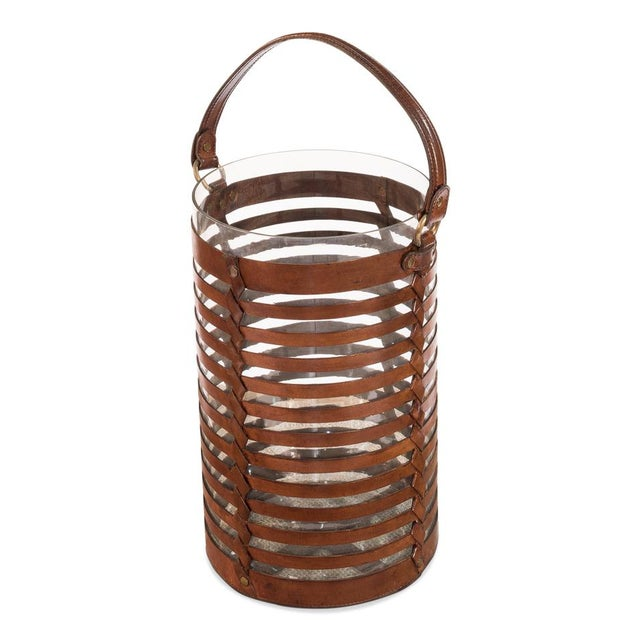 Sarreid Ltd. Leather Hurricane Baskets - A Pair - Image 2 of 4