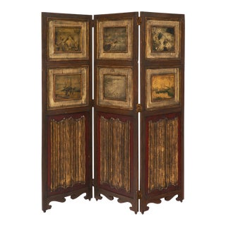Three-Panel Painted Antique Folding Screen For Sale