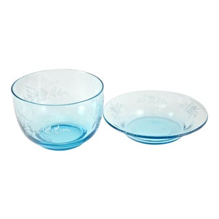 Teal Blue Wheel Cut Glass Bowls - a Pair For Sale