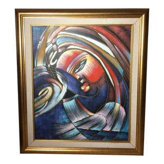 "Mid-Century Original ""Ladies of Santos"" Painting by Santos For Sale"