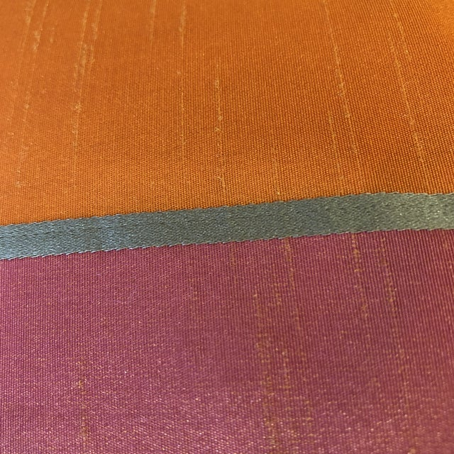 """Bright Pink and Tangerine Silk Mitered Stripe 22"""" Pillows-A Pair For Sale - Image 4 of 6"""