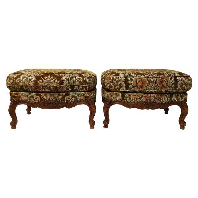 Contemporary Traditional French Ottomans With Rich Fabric Upholstery - a Pair For Sale - Image 11 of 11