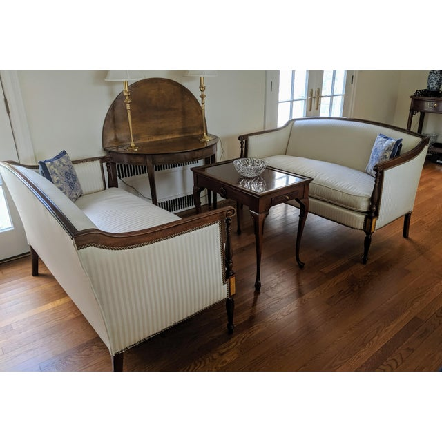 """A beautifully upholstered Hickory Chair"""" Sheraton Loveseat"""" from their James River Plantation line of historical style..."""