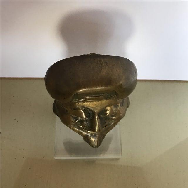 Asian Mid-Century Bronze Buddha Head For Sale - Image 3 of 6
