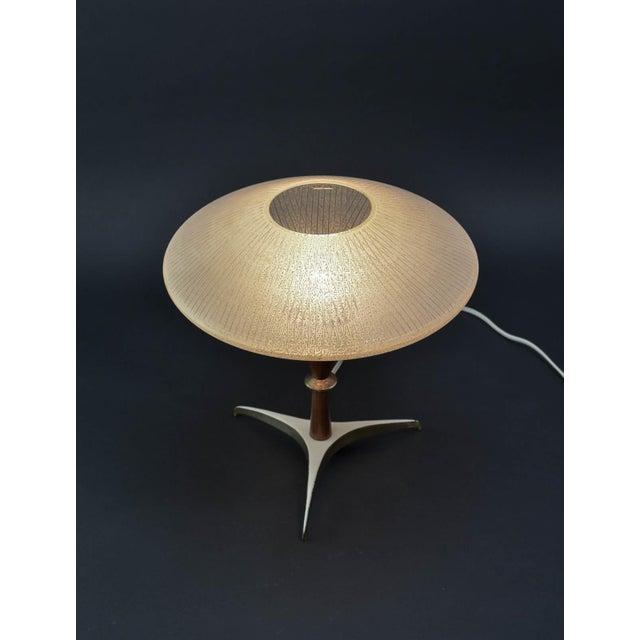 Mid-Century Decorative Atomic Tripod Table Lamp with Brass elements, teakwood stand and artistic sandblasted glass,...