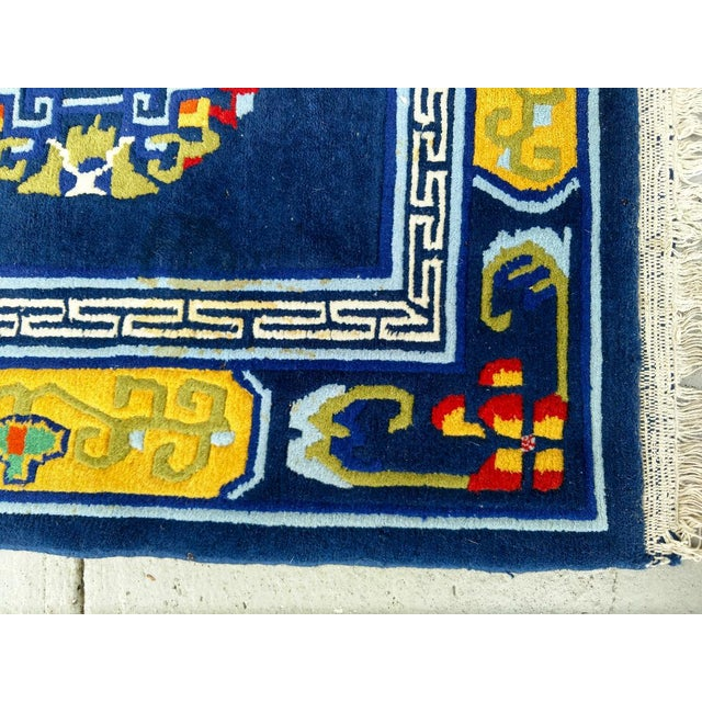 Traditional Hand-Knotted Wool, Navy Blue Asian Rug - 2′12″ × 6′1″, Vintage For Sale - Image 3 of 6