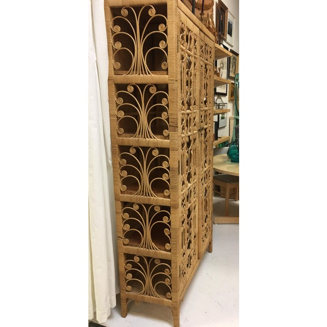Bohemian Rattan Storage Cabinet For Sale - Image 4 of 11
