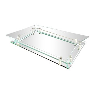 Mid Century Winged Glass Flared Edge Vanity Tray For Sale
