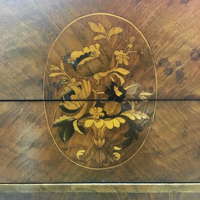 Antique Inlay Side Table with Brass Accents - Image 11 of 11