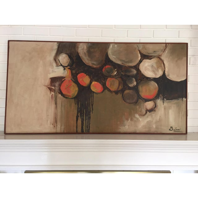 Large Mid-Century Abstract Painting - Image 2 of 5
