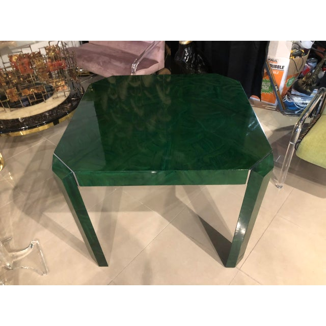Vintage Hollywood Regency Faux Malachite Chrome Game Dining Table For Sale - Image 4 of 13