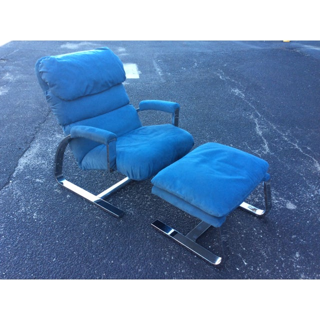 Milo Baughman Chrome Lounge Chair & Ottoman - Image 2 of 7