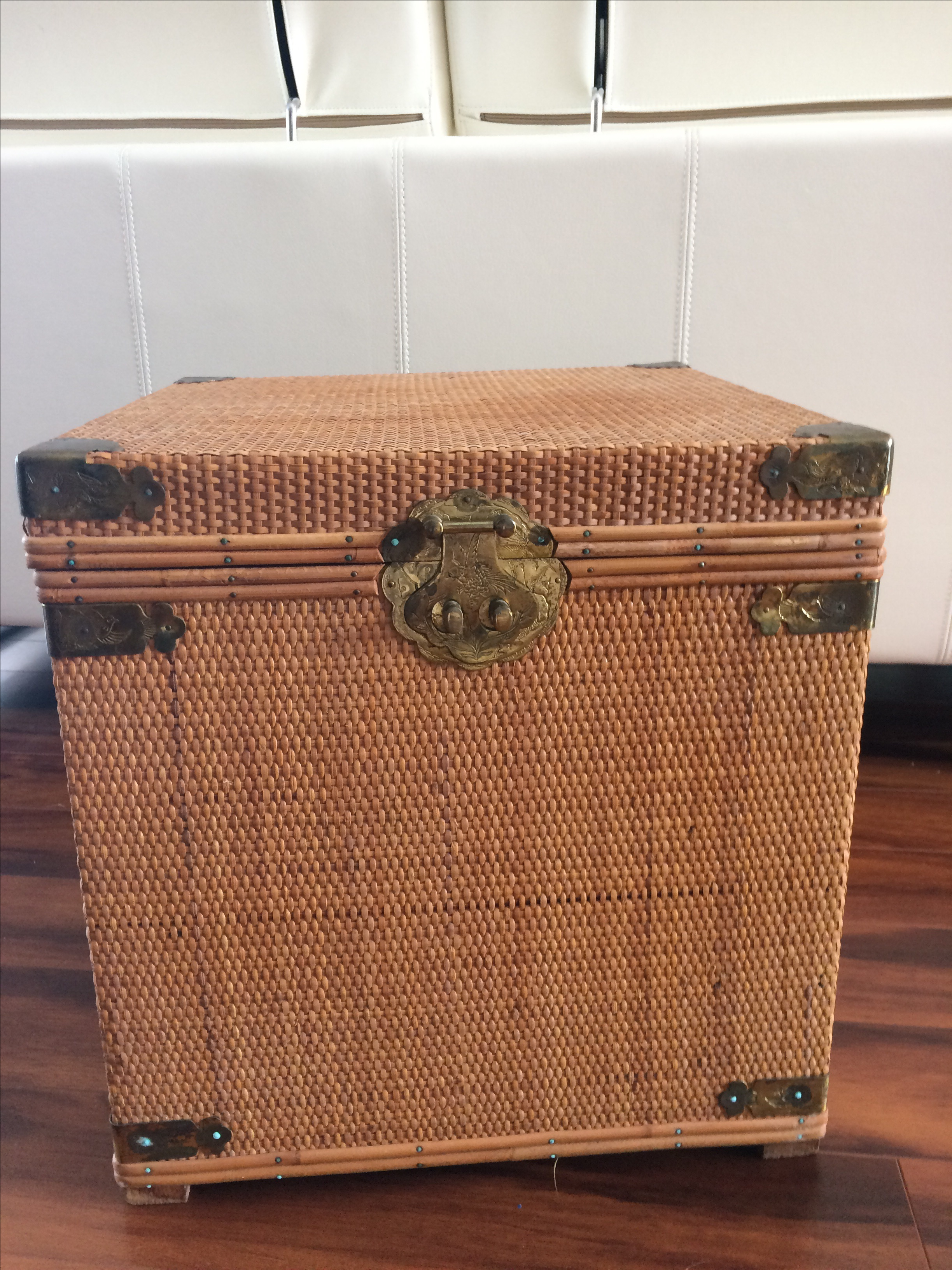 Asian Vintage Woven Wicker Storage Box For Sale   Image 3 Of 7