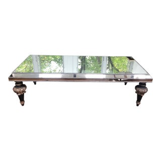 Vintage Mirrored Coffee Table With Splendid Fancy Carved Wood Legs For Sale