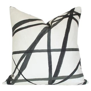 Lee Jofa Channels Ebony & Ivory Pillow Cover For Sale